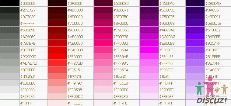 附:颜色对照表及代码全集文档