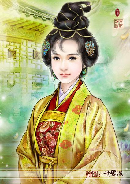 甘碧波手绘古典美女图