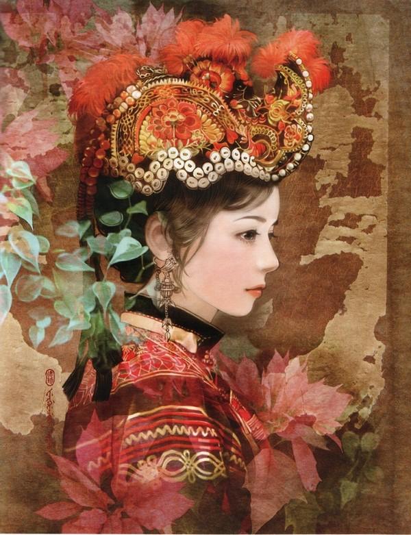 台湾插画家画的56个民族的人物手绘
