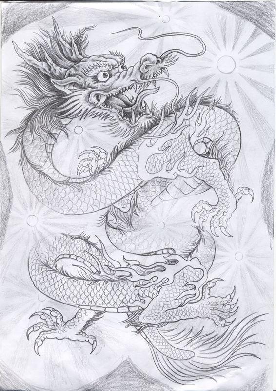 素描手绘中国龙