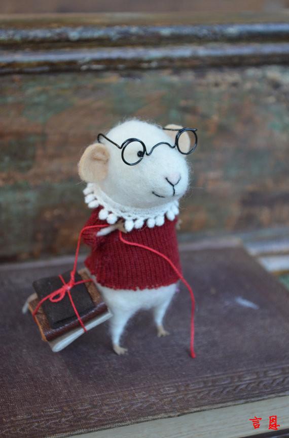 呆萌呆萌的精灵鼠小弟 羊毛毡手工作品 | aladd设计量贩铺