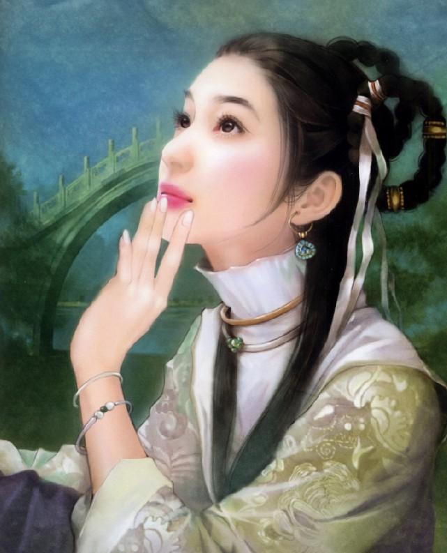 手绘古代美女满族图片