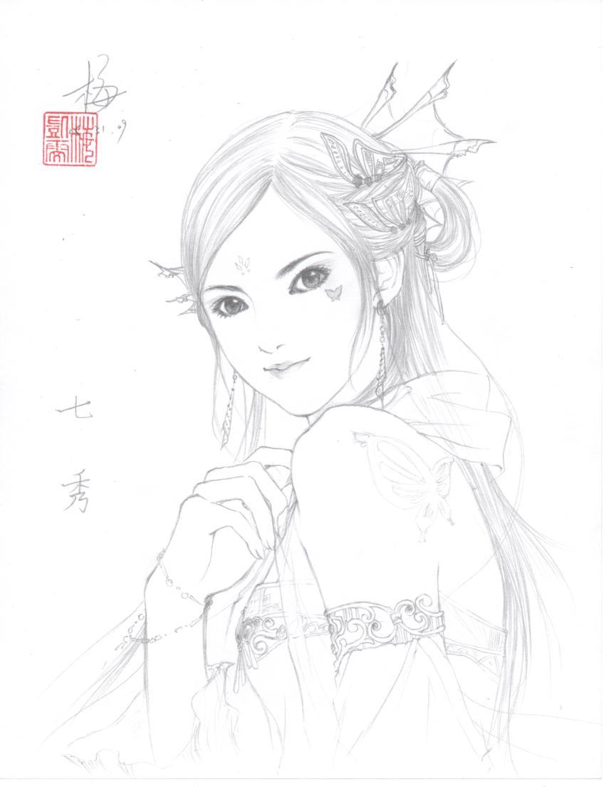 铅笔手绘~~~ 一张7秀的yy图.
