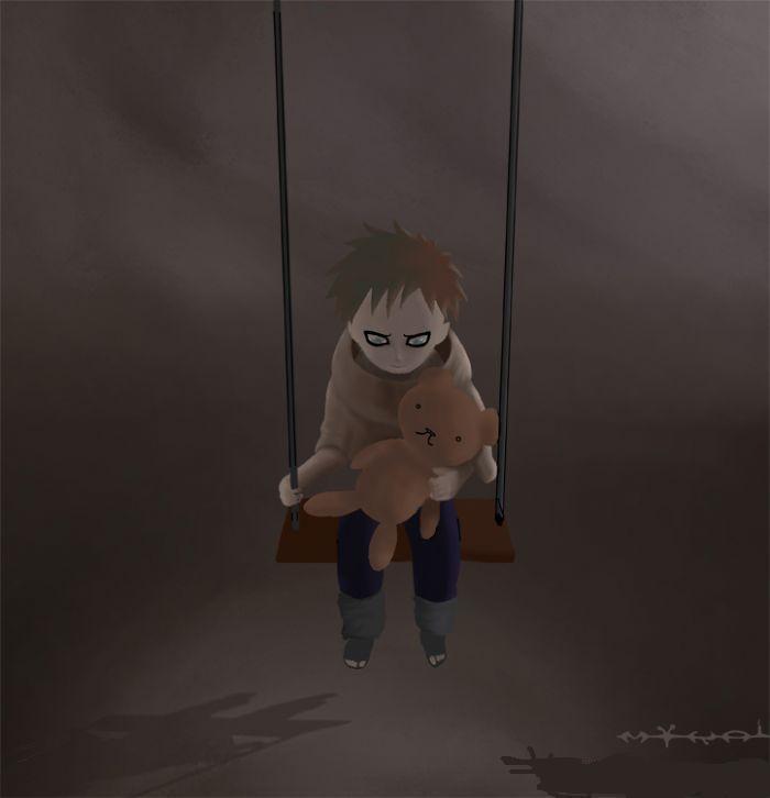 手绘小孩孤独背影