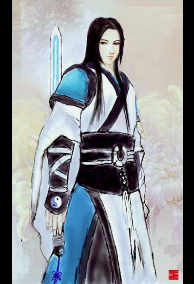 手绘古装白衣剑客