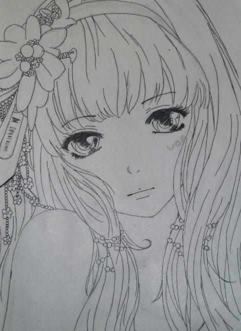 可爱女孩铅笔画; 动漫萝莉素描