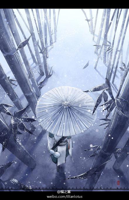 竹林古风手绘图片大全