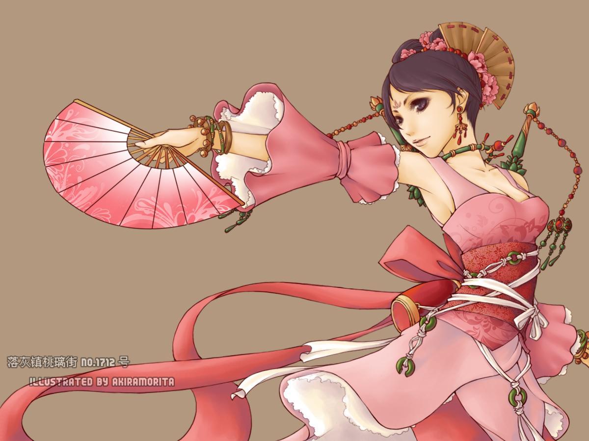 手绘女生古代红衣图片