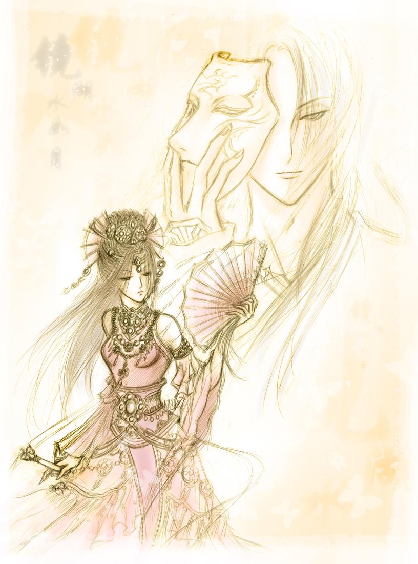 动漫画婚纱手绘