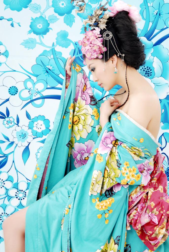 古装美女蓝色衣服手绘